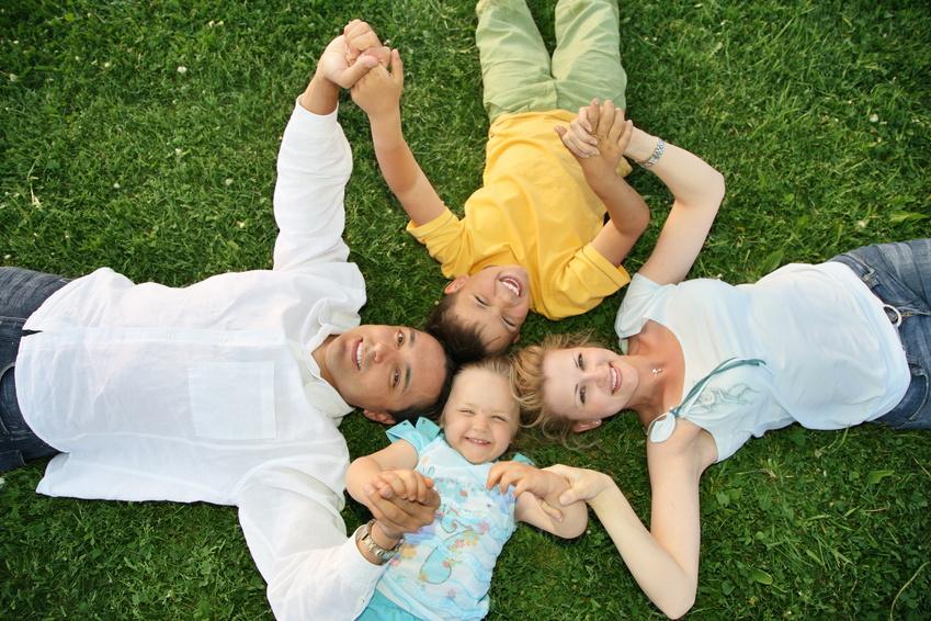 lying family grass