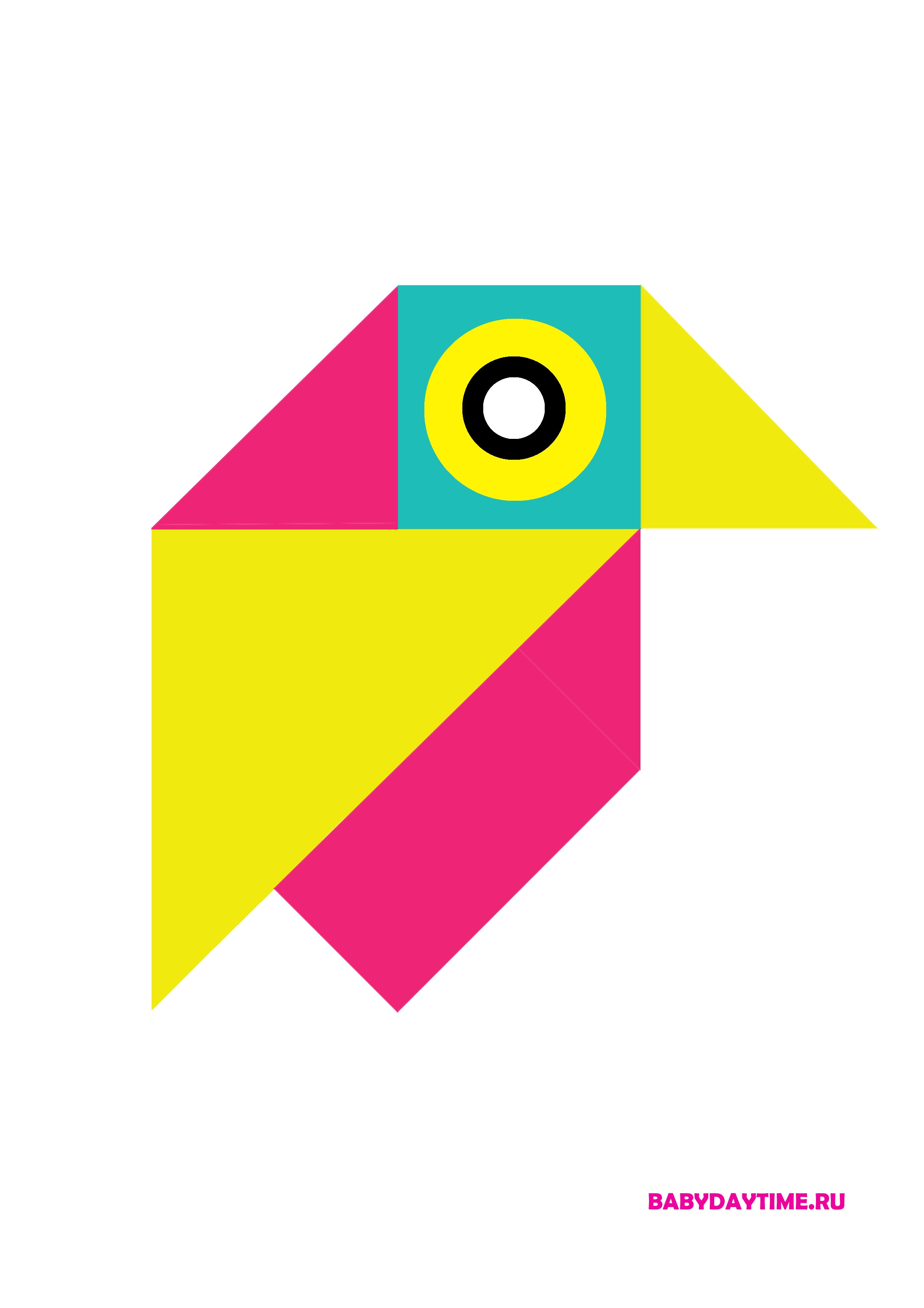 Геометрический пазл птичка