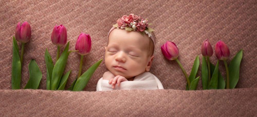 младенец в тюльпана с тюльпанами новорожденный
